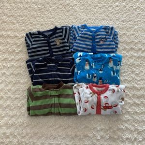 Carter's bundle of 6 fleece pajamas/sleep/play
